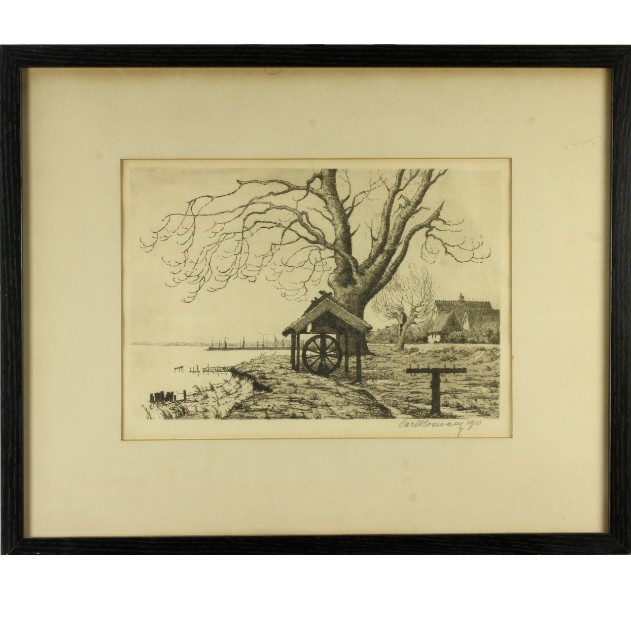Etching, C. 1931 Signed by Carl Sosway