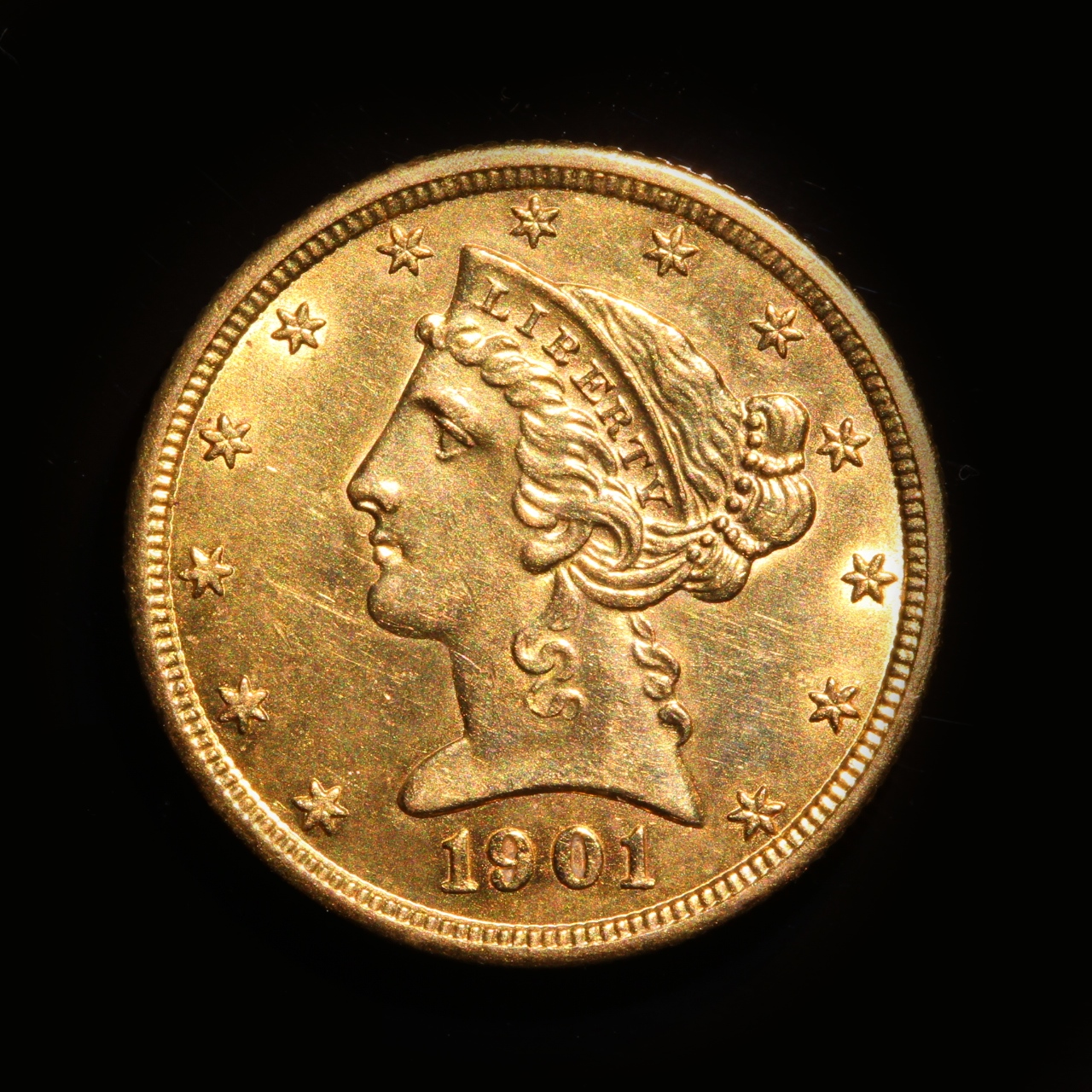 1901 Liberty 5 Dollars Gold (Half Eagle), AU-55